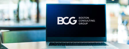 POZNAN, POL - SEP 23, 2020: Laptop computer displaying of Boston Consulting Group (BCG), an American management consulting firm founded in 1963 Sajtókép
