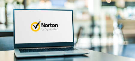 POZNAN, POL - SEP 23, 2020: Laptop computer displaying of Norton AntiVirus, an anti-virus or anti-malware software product, developed and distributed by Symantec Corporation