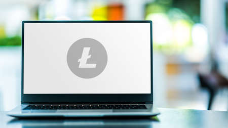 POZNAN, POL - SEP 23, 2020: Laptop computer displaying of Litecoin, a peer-to-peer cryptocurrency and open-source software project
