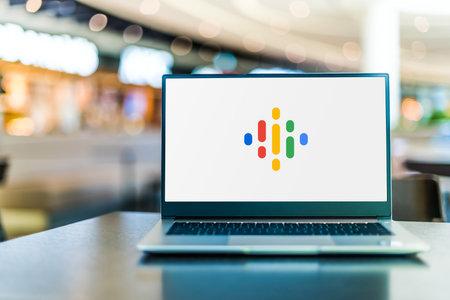 POZNAN, POL - SEP 23, 2020: Laptop computer displaying of Google Podcasts, a podcast application developed by Google Sajtókép