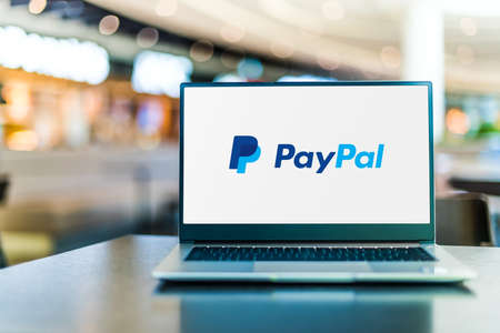 POZNAN, POL - SEP 23, 2020: Laptop computer displaying of PayPal, an American company operating a worldwide online payments system that supports online money transfers Sajtókép
