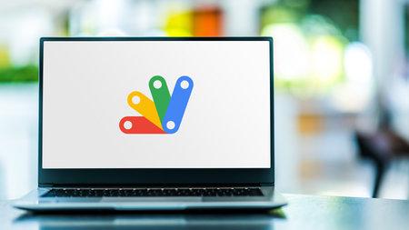 POZNAN, POL - SEP 23, 2020: Laptop computer displaying of Apps Script, a scripting platform developed by Google for light-weight application development in the G Suite platform Sajtókép