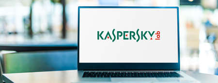 POZNAN, POL - SEP 23, 2020: Laptop computer displaying of Kaspersky Lab, a multinational cybersecurity and anti-virus provider headquartered in Moscow, Russia