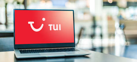 POZNAN, POL - SEP 23, 2020: Laptop computer displaying of TUI, an Anglo-German multinational travel and tourism company headquartered in Hanover, Germany
