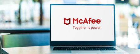 POZNAN, POL - SEP 23, 2020: Laptop computer displaying of McAfee, a global computer security software company headquartered in Santa Clara, California, USA Sajtókép