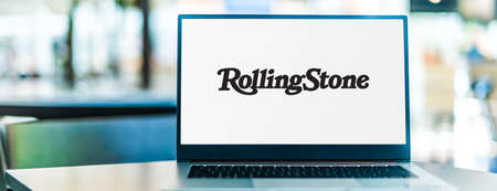POZNAN, POL - SEP 23, 2020: Laptop computer displaying of Rolling Stone, an American monthly magazine that focuses on popular culture