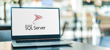 POZNAN, POL - SEP 23, 2020: Laptop computer displaying of Microsoft SQL Server, a relational database management system developed by Microsoft Sajtókép