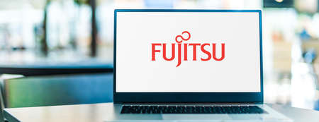 POZNAN, POL - SEP 23, 2020: Laptop computer displaying of Fujitsu, a Japanese multinational information technology equipment and services company headquartered in Tokyo