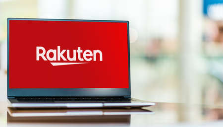 POZNAN, POL - SEP 23, 2020: Laptop computer displaying of Rakuten, a Japanese electronic commerce and online retailing company based in Tokyo