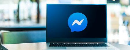 POZNAN, POL - SEP 23, 2020: Laptop computer displaying of Facebook Messenger Sajtókép