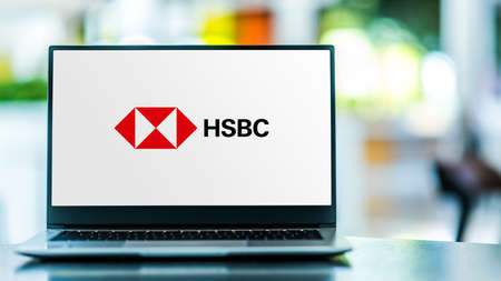 POZNAN, POL - SEP 23, 2020: Laptop computer displaying of HSBC Holdings plc, a British multinational investment bank and financial services holding company