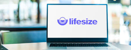 POZNAN, POL - SEP 23, 2020: Laptop computer displaying of Lifesize, a video and audio telecommunications company.