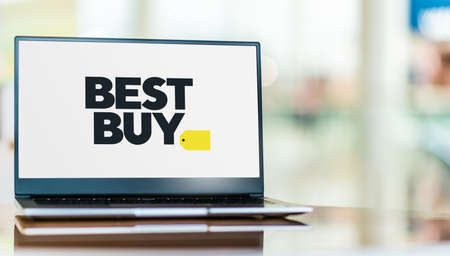 POZNAN, POL - SEP 23, 2020: Laptop computer displaying Best Buy Co., Inc., an American multinational consumer electronics retailer headquartered in Richfield, Minnesota