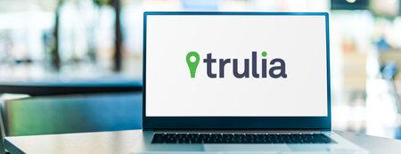 POZNAN, POL - SEP 23, 2020: Laptop computer displaying of Trulia, an American online real estate database company Sajtókép