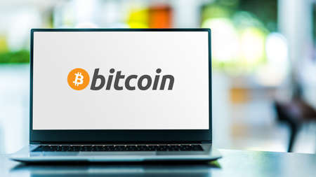 POZNAN, POL - SEP 23, 2020: Laptop computer displaying of Bitcoin, a cryptocurrency invented in 2008 by Satoshi Nakamoto