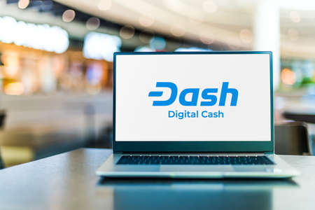 POZNAN, POL - SEP 23, 2020: Laptop computer displaying of Dash, an open source cryptocurrency