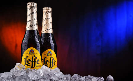 POZNAN, POL - OCT 2, 2020: Bottles of Leffe, a brand of beer owned by InBev Belgium, the European operating arm of the global Anheuser