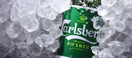 POZNAN, POL - OCT 8, 2020: Bottle of Carlsberg pale lager beer produced by Carlsberg Group, a Danish brewing company founded in 1847 with headquarters located in Copenhagen, Denmark