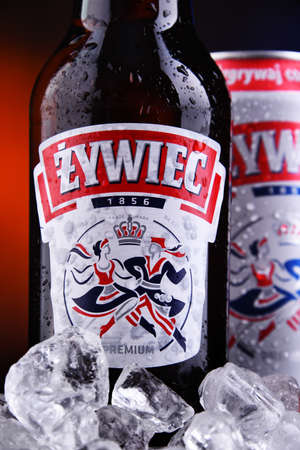 POZNAN, POL - OCT 2, 2020: Bottle and can of Zywiec Beer, a pale lager, which has been brewed in Poland by Zywiec Group, owned by Heineken International since 1994 Editorial