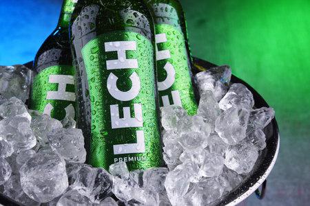 POZNAN, POL - OCT 8, 2020: Bottles of Lech, a brand of Polish beer produced by Kompania Piwowarska, a subsidiary of Asahi Breweries
