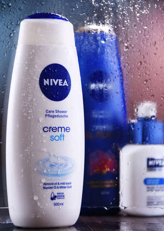 POZNAN, POL - OCT 23, 2020: Products of Nivea, a German personal care brand that specializes in skin- and body-care products. It is owned by Beiersdorf Global AG headquartered in Hamburg. Editorial