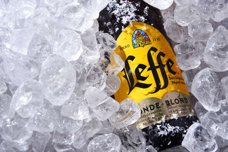 POZNAN, POL - OCT 8, 2020: Bottle of Leffe, a brand of beer owned by InBev Belgium, the European operating arm of the global Anheuser