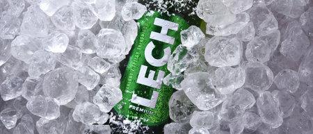 POZNAN, POL - OCT 8, 2020: Bottle of Lech, a brand of Polish beer produced by Kompania Piwowarska, a subsidiary of Asahi Breweries Editorial
