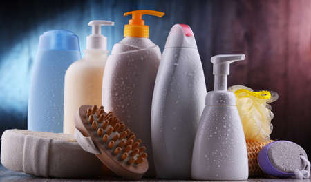 Plastic contaiers of shampoos and shower gels