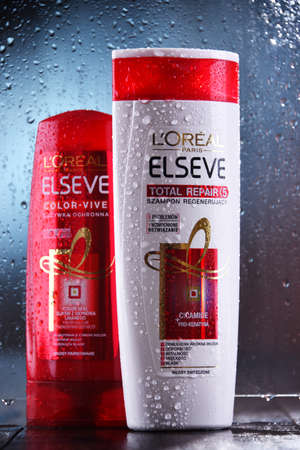 POZNAN, POL - OCT 23, 2020: Products of L Oreal, a French cosmetics company headquartered in Clichy, Hauts-de-Seine. It is the world's largest cosmetics producer.