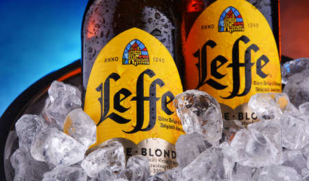 POZNAN, POL - OCT 8, 2020: Bottles of Leffe, a brand of beer owned by InBev Belgium, the European operating arm of the global Anheuser