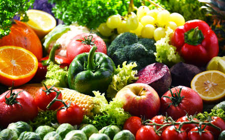 Composition with variety of fresh organic vegetables and fruits Stock fotó
