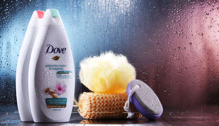 POZNAN, POL - OCT 23, 2020: Container of Dove product, a personal care brand, owned by Unilever and sold in more than 80 countries Editorial