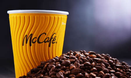 POZNAN, POL - AUG 21, 2020: McCafe cup of coffee, a brand of a coffee-house-style food and drink chain, owned by McDonald's.