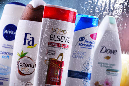 POZNAN, POL - OCT 23, 2020: Plastic containers of body care products including widely available most popular global brands as LOreal, Nivea, Dove and Head & Shoulders