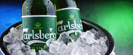 POZNAN, POL - OCT 8, 2020: Bottles of Carlsberg pale lager beer produced by Carlsberg Group, a Danish brewing company founded in 1847 with headquarters located in Copenhagen, Denmark