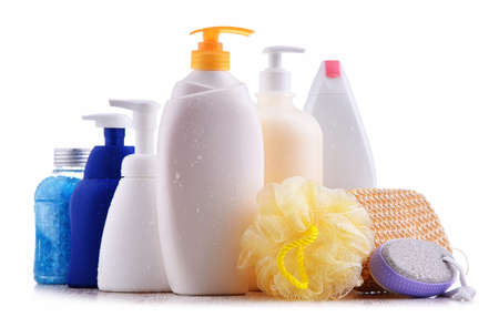 Plastic contaiers of shampoos and shower gels isolated on white background Standard-Bild