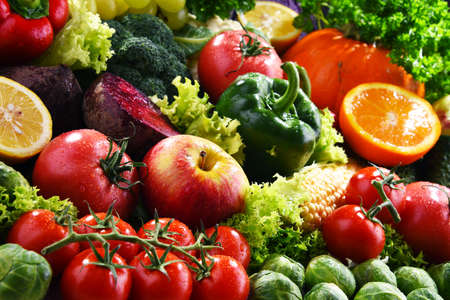 Composition with variety of fresh organic vegetables and fruits