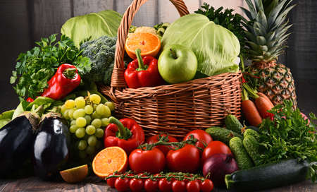 Composition with assorted raw organic vegetables and fruits. Detox diet
