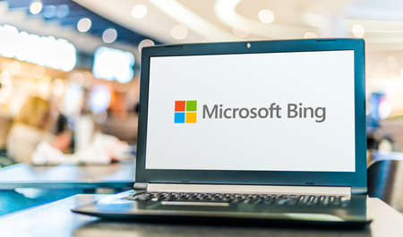 POZNAN, POL - SEP 23, 2020: Laptop computer displaying logo of Bing, a web search engine owned and operated by Microsoft