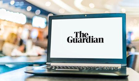 POZNAN, POL - JAN 6, 2021: Laptop computer displaying logo of The Guardian, a British daily newspaper