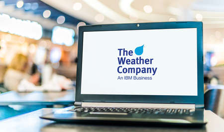 POZNAN, POL - JAN 6, 2021: Laptop computer displaying logo of The Weather Company, a weather forecasting and information technology company that owns and operates weather.com and Weather Underground