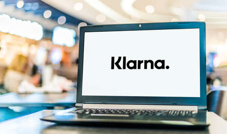 POZNAN, POL - JAN 6, 2021: Laptop computer displaying logo of Klarna Bank, a Swedish bank that provides online financial services