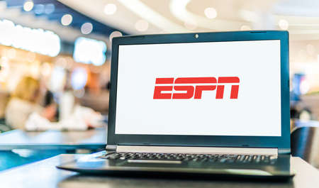 POZNAN, POL - JAN 6, 2021: Laptop computer displaying logo of ESPN, a cable sports channel owned by ESPN Inc., owned jointly by The Walt Disney Company and Hearst Communications