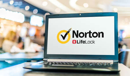 POZNAN, POL - JUL 25, 2020: Laptop computer displaying logo of Norton AntiVirus, an anti-virus or anti-malware software product, developed and distributed by Symantec Corporation