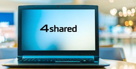 POZNAN, POL - JAN 6, 2021: Laptop computer displaying logo of 4shared, a file-sharing website Editorial