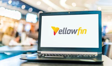 POZNAN, POL - NOV 12, 2020: Laptop computer displaying logo of Yellowfin, a Business Intelligence platform