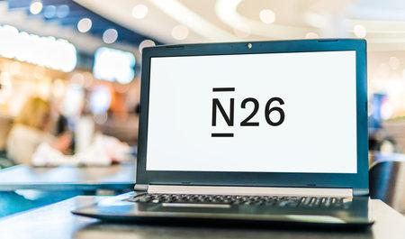 POZNAN, POL - JAN 6, 2021: Laptop computer displaying logo of N26, a German neobank headquartered in Berlin, Germany