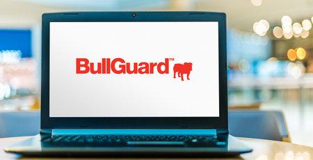 POZNAN, POL - SEP 23, 2020: Laptop computer displaying logo of BullGuard BullGuard Internet Security software