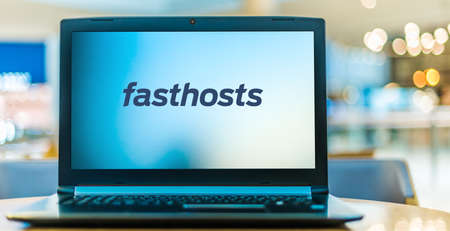 POZNAN, POL - JAN 6, 2021: Laptop computer displaying logo of Fasthosts, a provider of Internet access and hosting services based in Gloucester, England Editorial