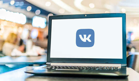 POZNAN, POL - JAN 6, 2021: Laptop computer displaying logo of VK, a Russian online social media and social networking service based in Saint Petersburg